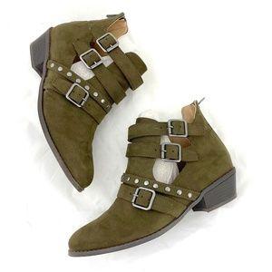 Torrid cutout stud bootie ankle boots faux suede